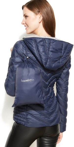 Laundry By Shelli Segal Hooded Quilted Packable Puffer