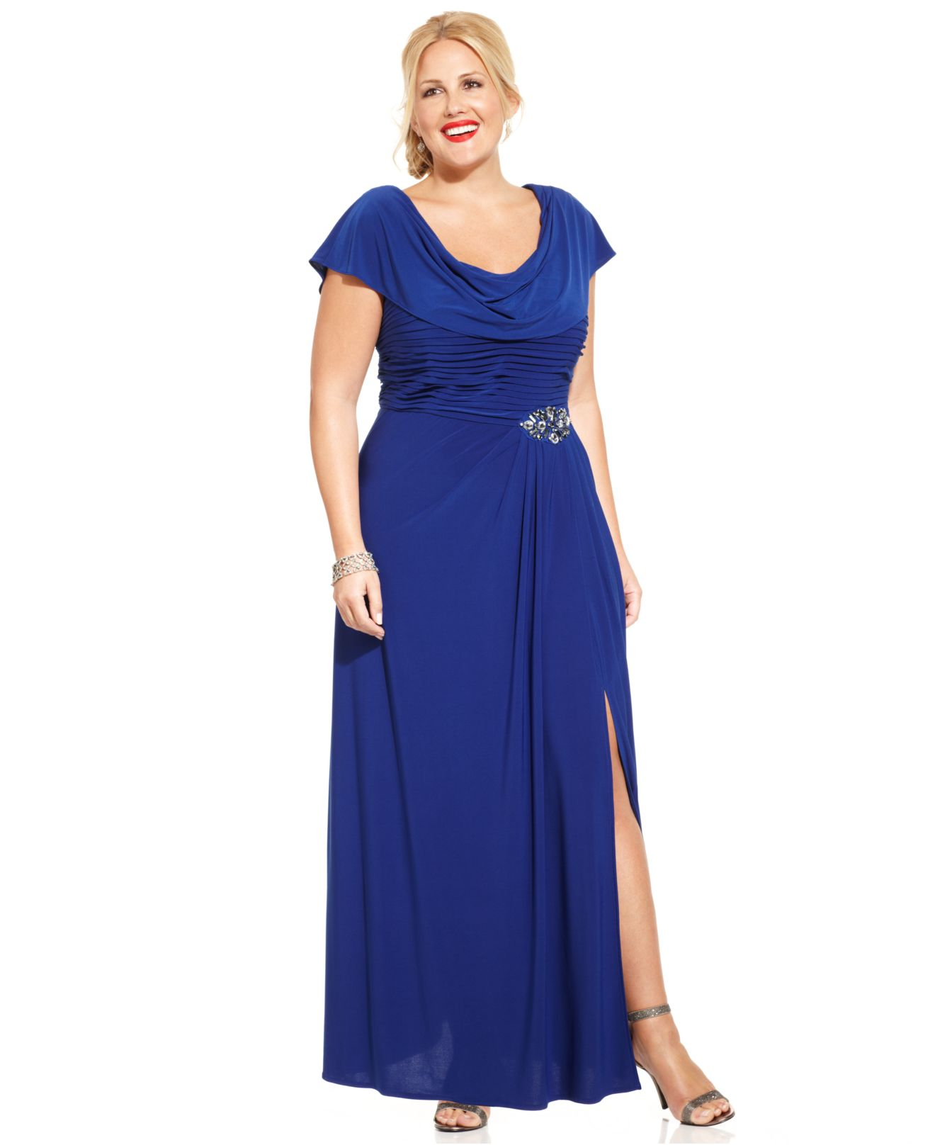 Patra Blue Plus Size Flutter-Sleeve Jewel Gown