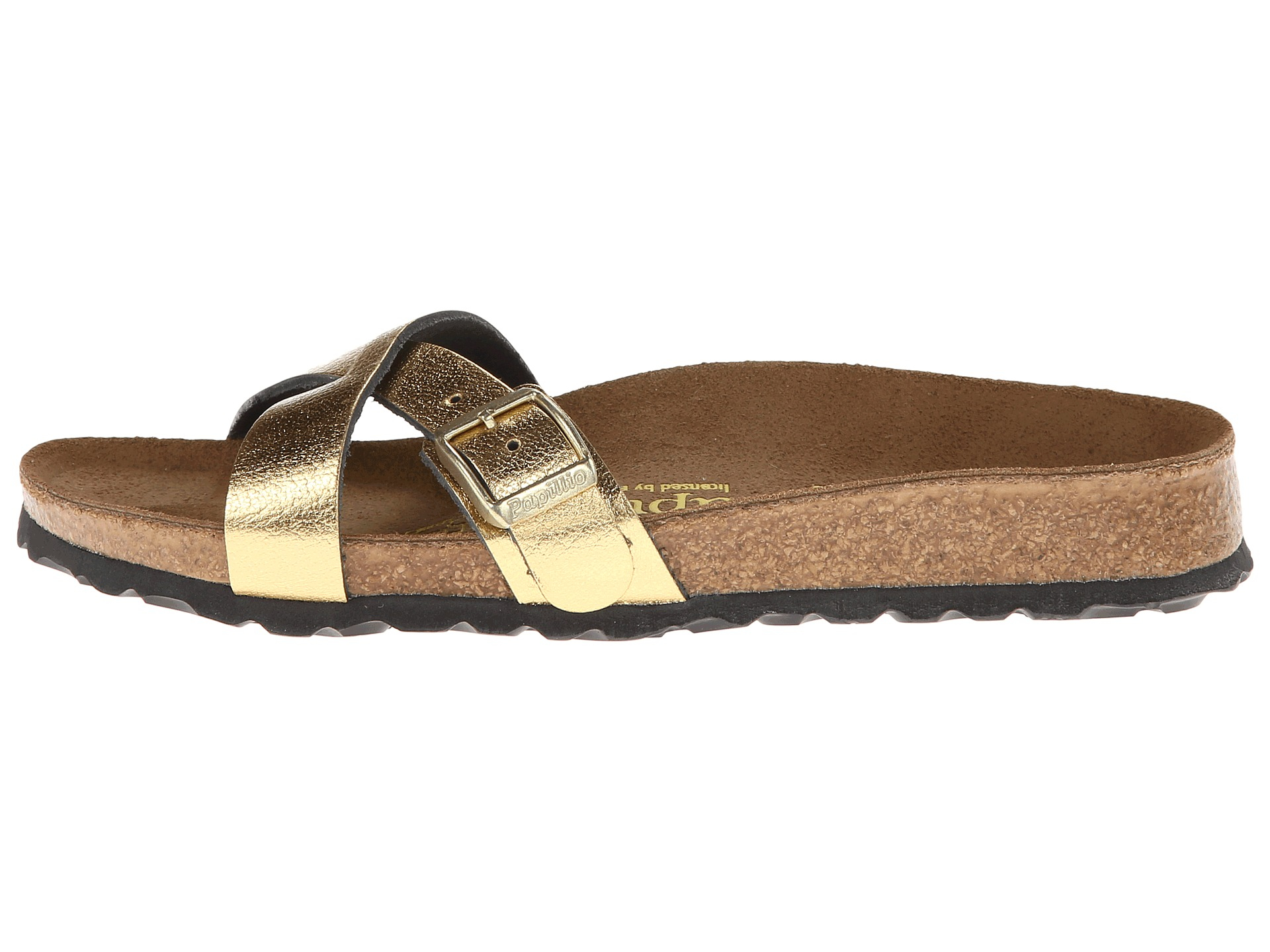 Birkenstock Leather Arizona Soft Footbed In Metallic Gold