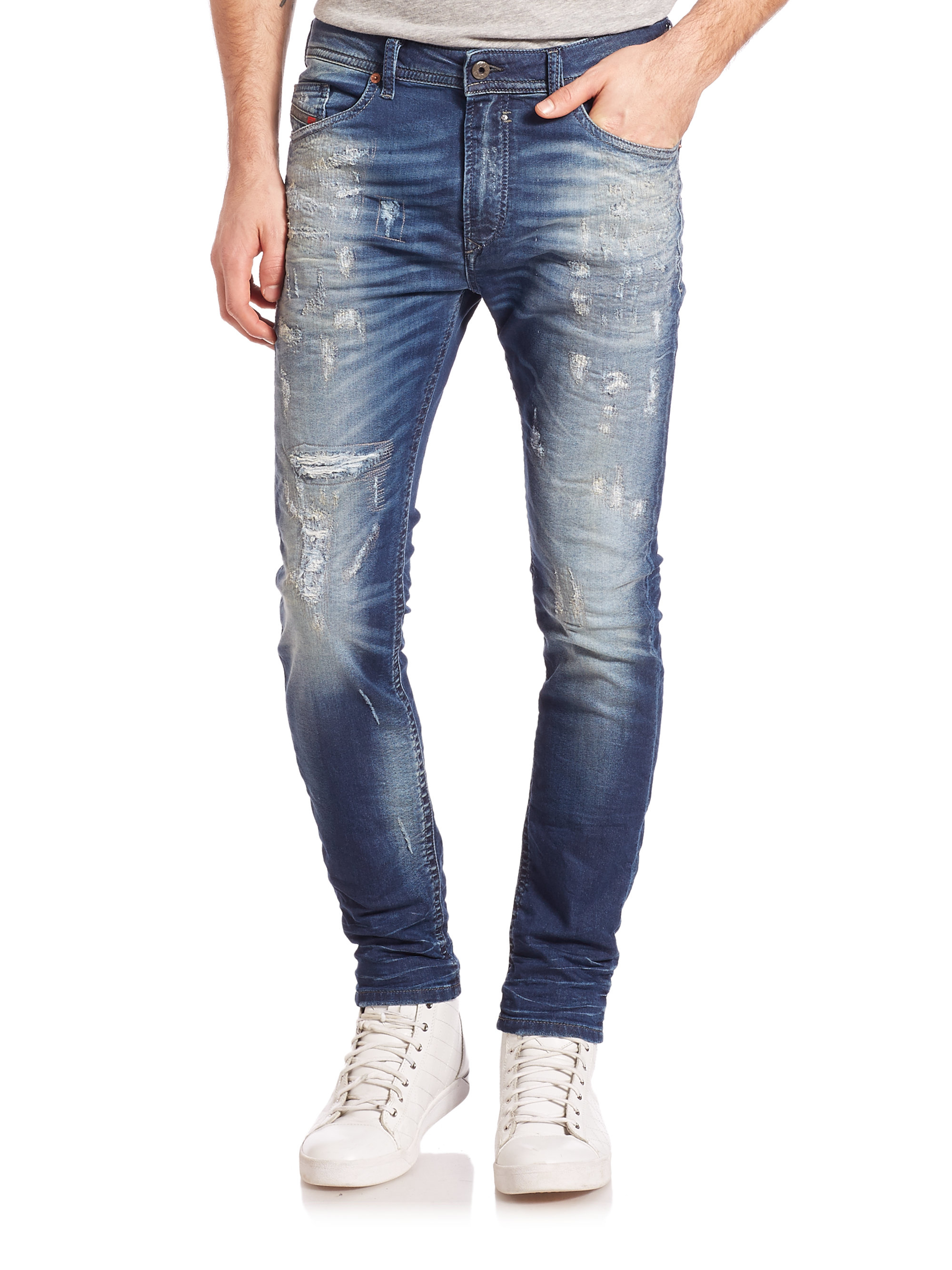 Diesel Spender Distressed Skinny Jeans In Blue For Men Lyst