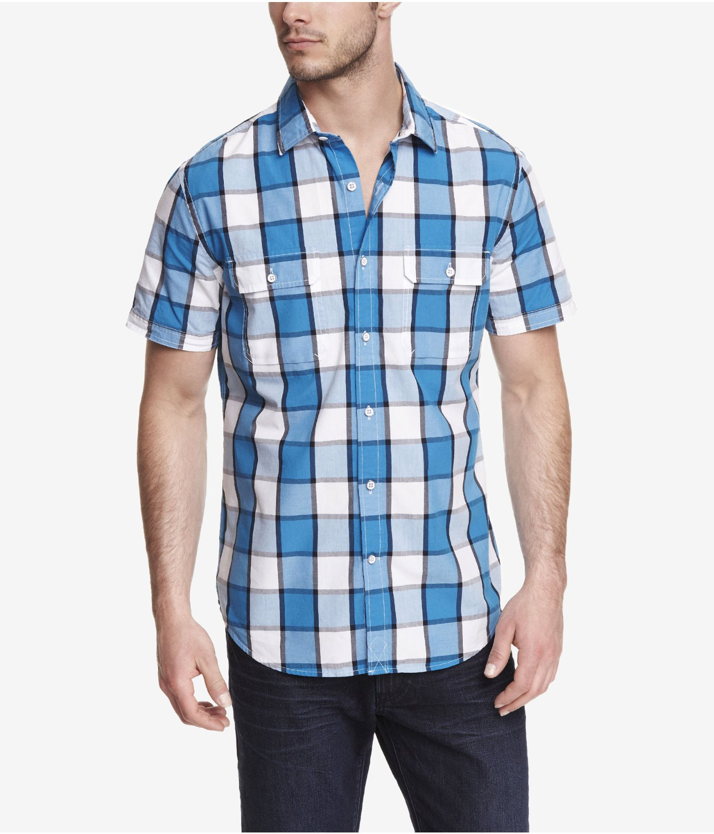 Express fitted short sleeve plaid shirt in blue for men Short sleeve plaid shirts