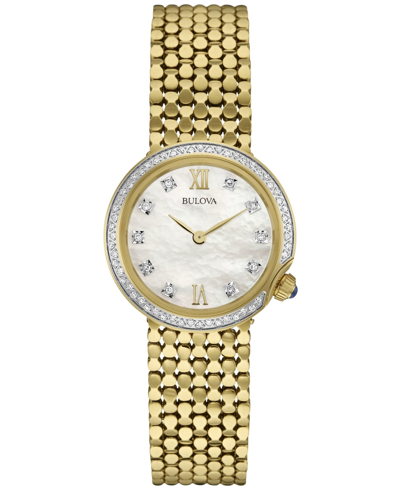 Bulova Women S Diamond 1 6 Ct T W Gold Tone Stainless