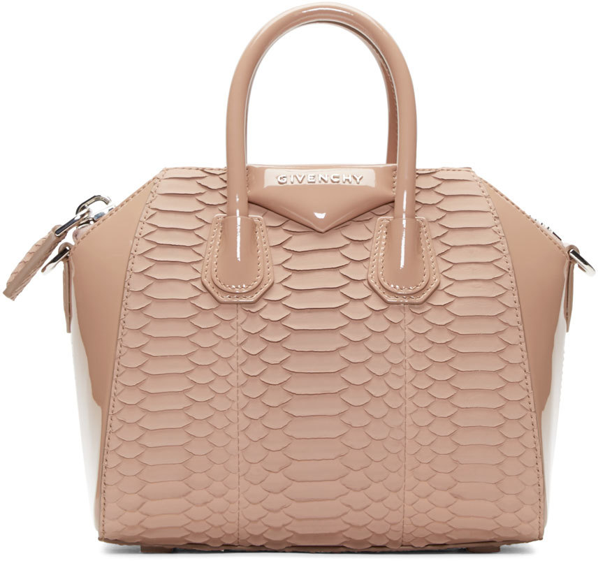 8249d3d0160e Lyst - Givenchy Pink Python Leather Mini Antigona Bag in Pink