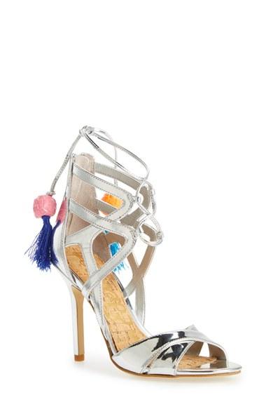 434d2b98cee0a Lyst - Sam Edelman  azela  Tassel Lace-up Sandal in Metallic