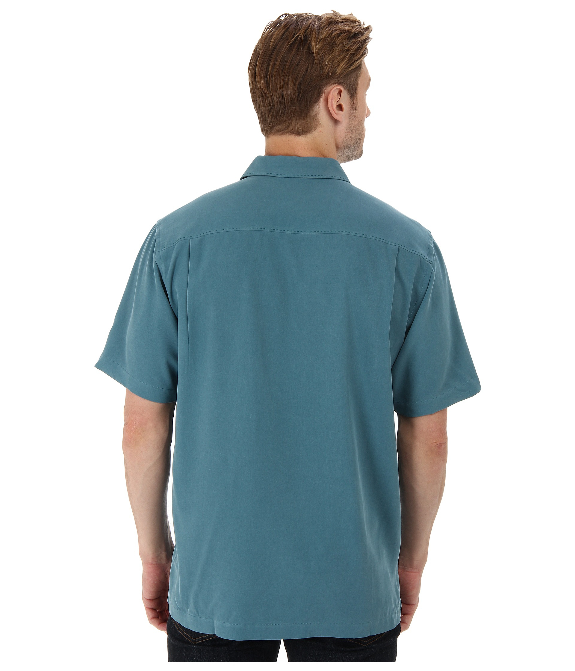 Tommy bahama catalina twill camp shirt in blue for men for Tommy bahama christmas shirt 2014