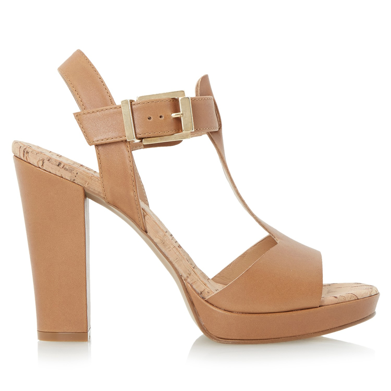 Dune Jasmin Leather T-bar Block Heel Sandals in Brown - Lyst