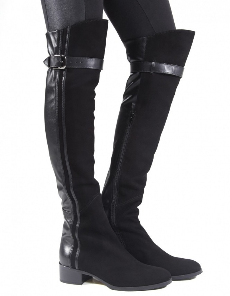 le pepe suede front the knee boots in black lyst