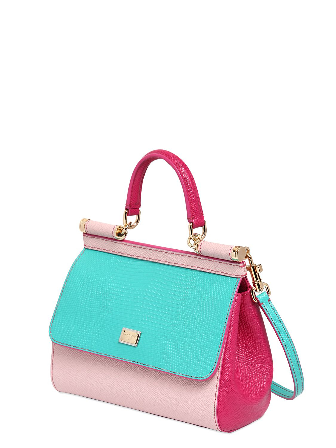 8ad5de937d78 Lyst - Dolce   Gabbana Small Sicily Iguana Embossed Leather Bag in Pink