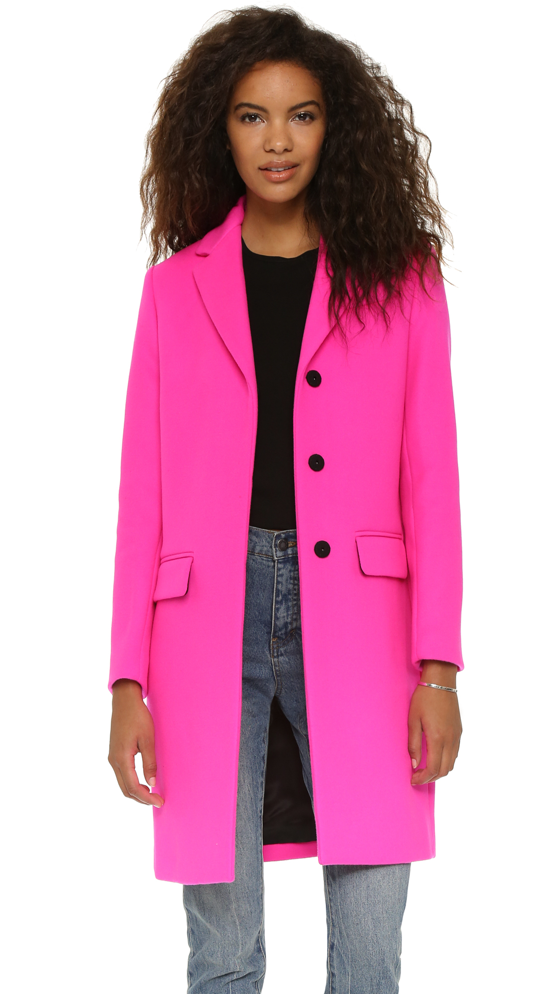 Msgm Wool Coat in Pink | Lyst