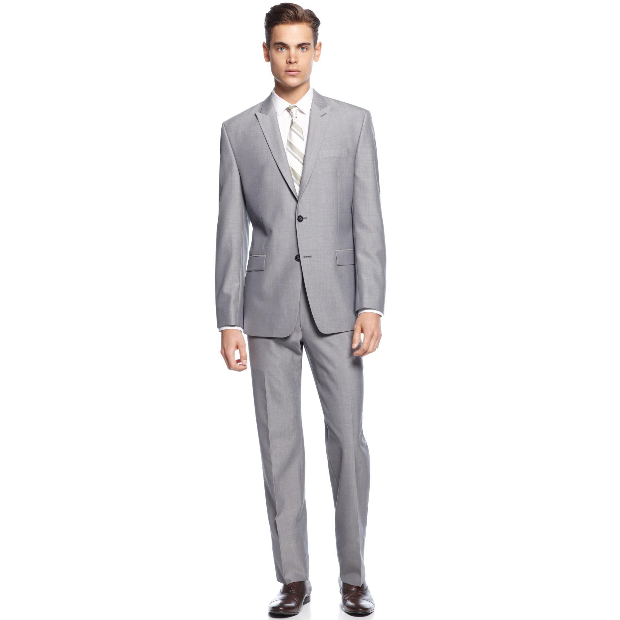 calvin klein light grey peak lapel slim fit suit in gray for men grey lyst. Black Bedroom Furniture Sets. Home Design Ideas