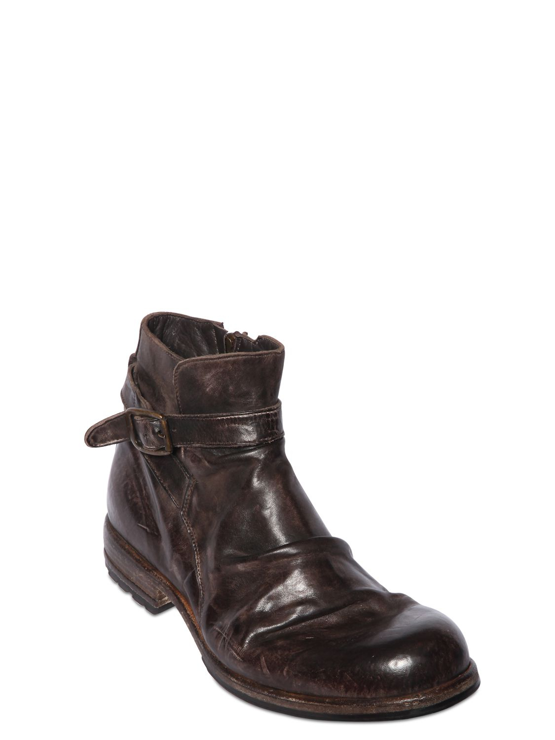 shoto vintage effect washed leather boots in brown for