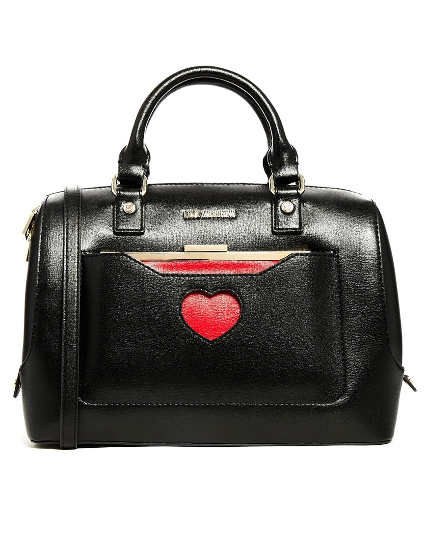 love moschino bowler bag with detachable purse in black lyst. Black Bedroom Furniture Sets. Home Design Ideas
