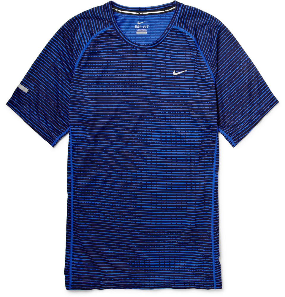 Nike printed dri fit running t shirt in blue for men lyst for Running dri fit shirts