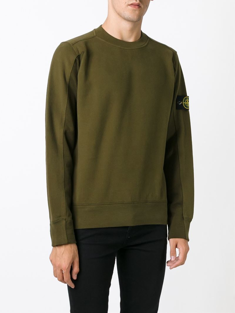 Stone Island Round Neck Sweatshirt in Green for Men