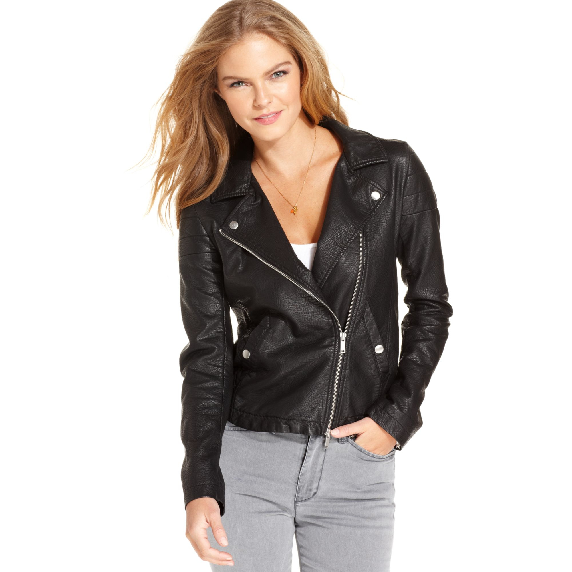 d095b35a4fe Lyst - Calvin Klein Fauxleather Moto Jacket in Black