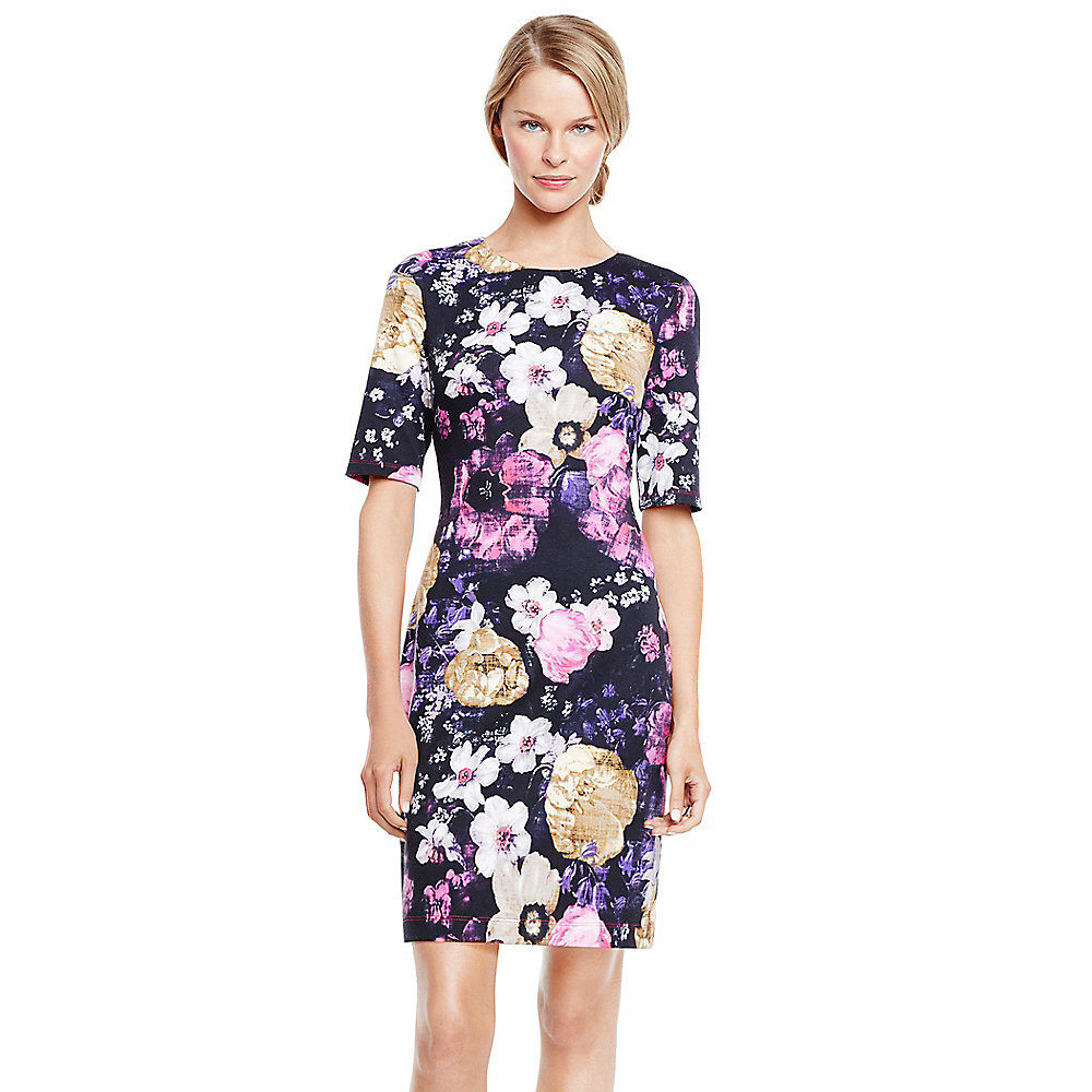 Vince camuto Mixed Floral Elbow Sleeve Dress in Floral ...
