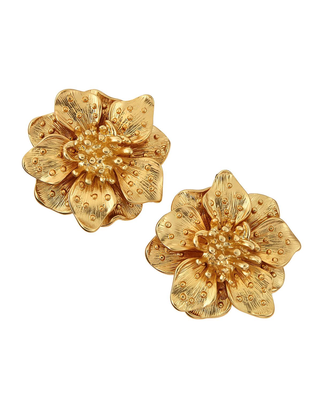 Lyst Kenneth Jay Lane Satin Golden Flower Clip Earrings