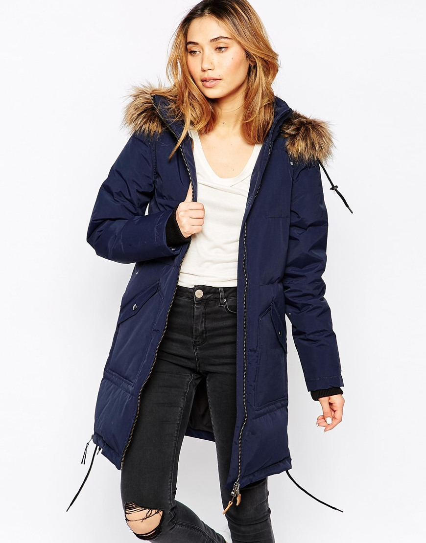 Minimum Parka With Faux Fur Hood in Blue | Lyst