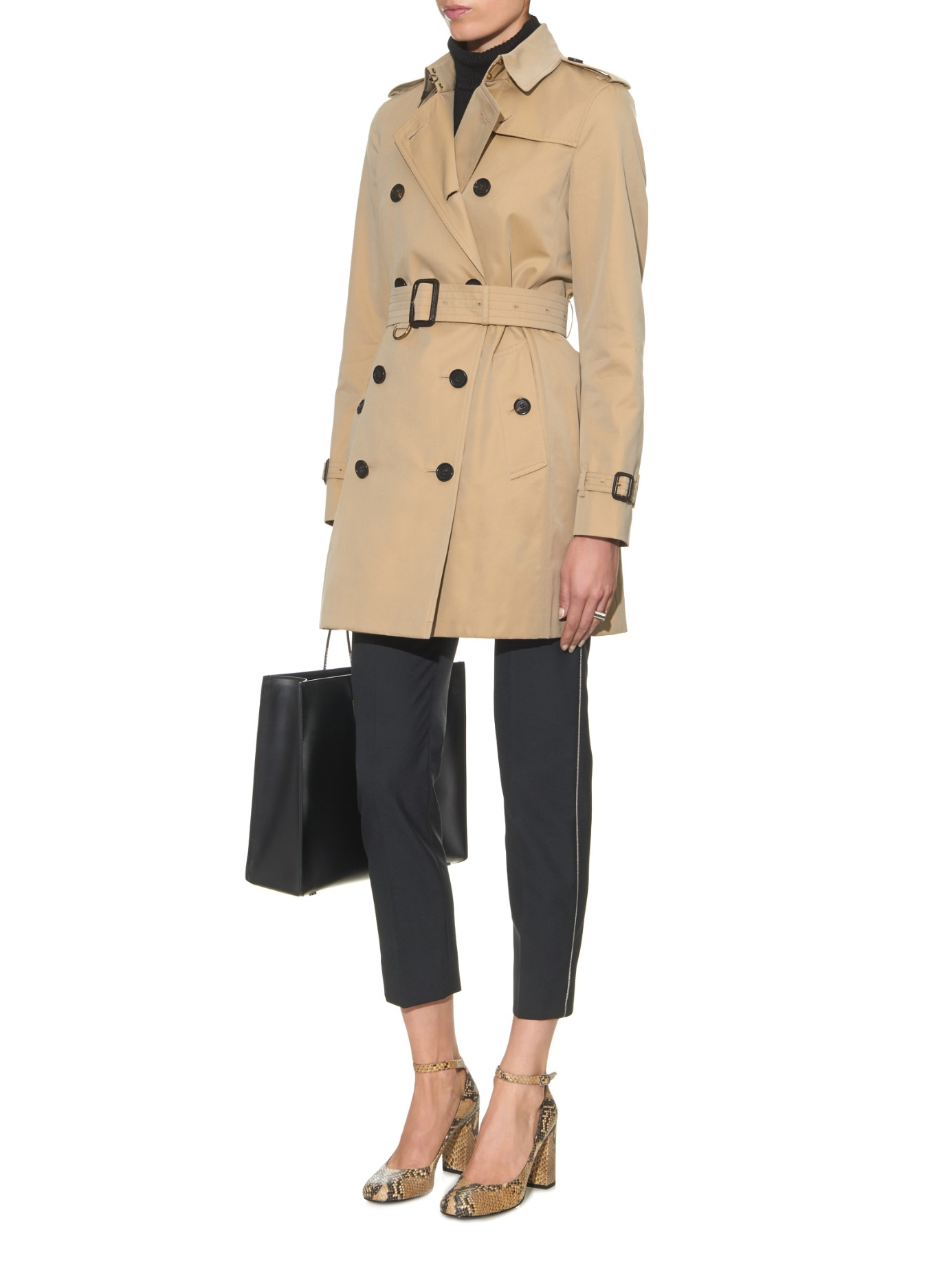 burberry kensington mid length gabardine trench coat in brown tan lyst. Black Bedroom Furniture Sets. Home Design Ideas