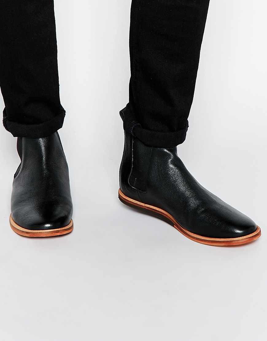 9d3fc182948 Frank Wright Black Burns Leather Chelsea Boots for men