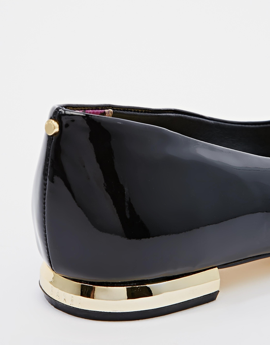 a9bec41cf Ted Baker Pasces Black Patent Leather Flat Shoes in Black - Lyst