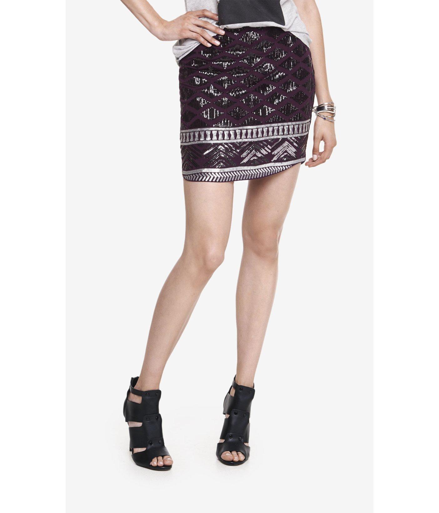 Express Rounded Hem Sequin Mini Skirt in Purple | Lyst