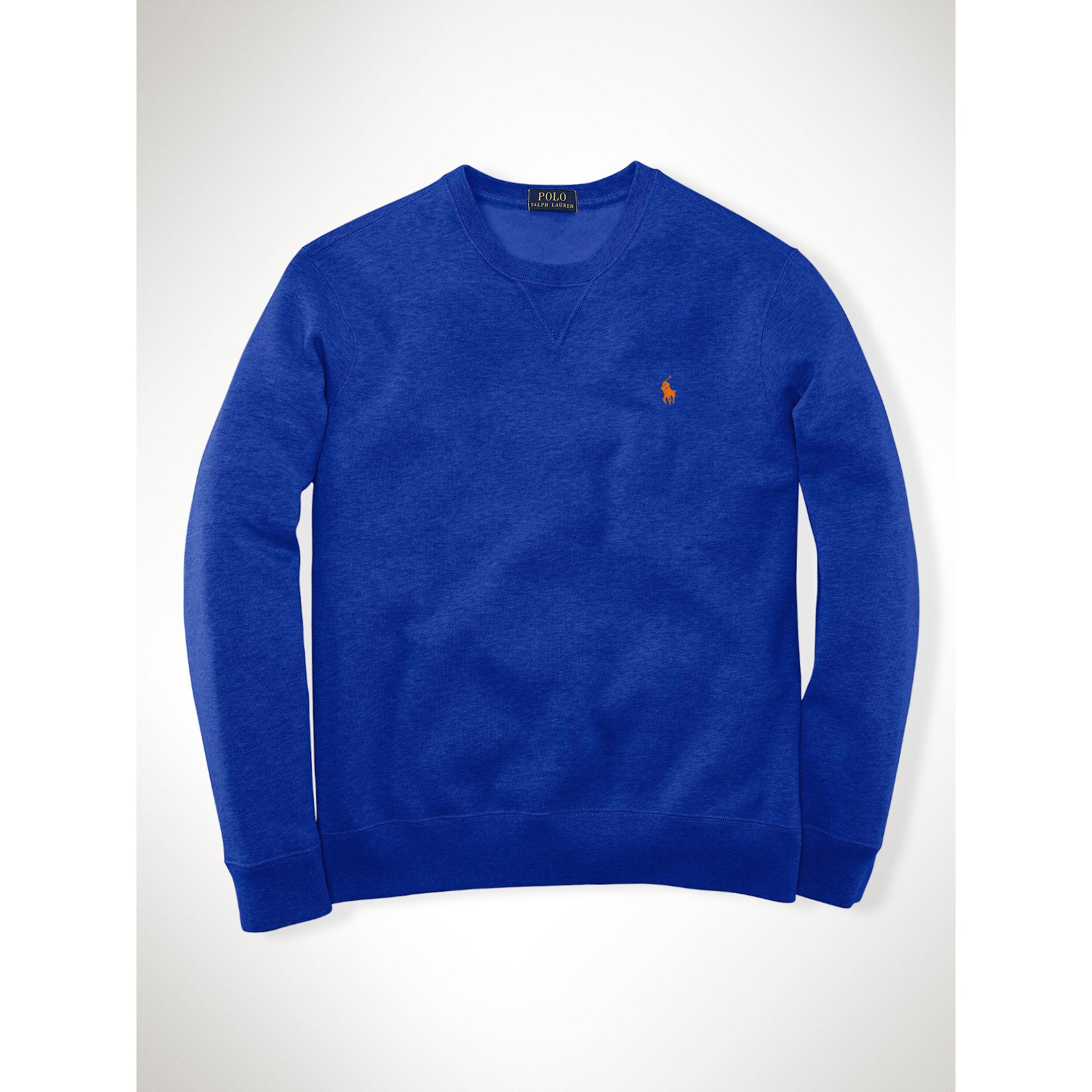 ralph lauren fleece crewneck sweatshirt in blue for men. Black Bedroom Furniture Sets. Home Design Ideas