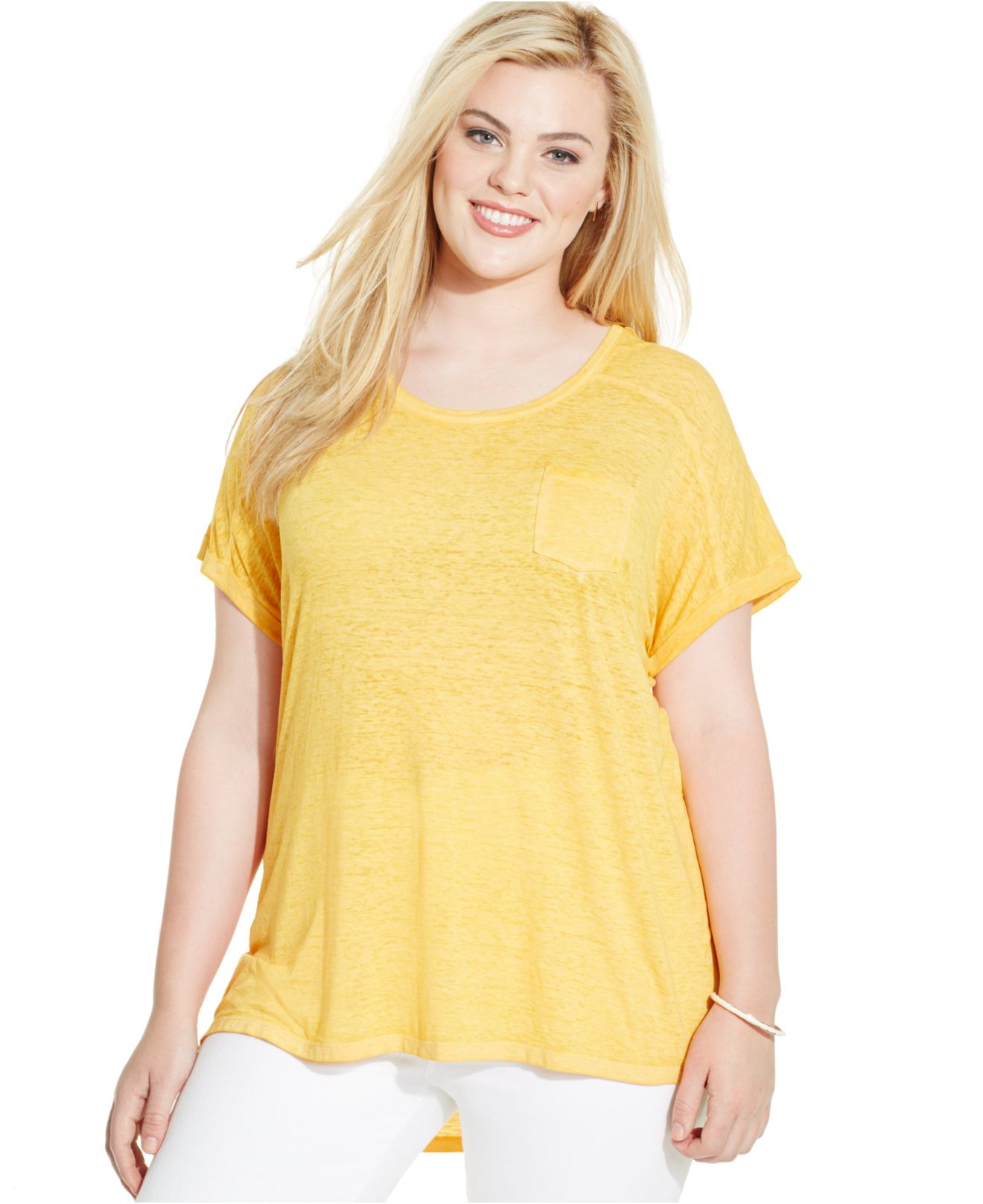 style co plus size pocket t shirt in yellow lyst