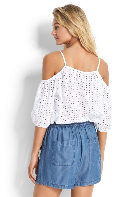 09f676946dadb Seafolly - White Broderie Cold Shoulder Top - Lyst. View fullscreen