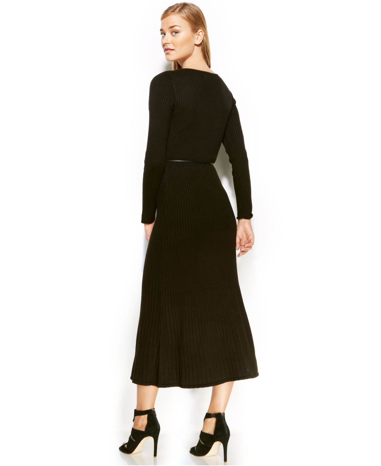 Calvin Klein Dress Long Sleeve Belted Sweater Maxi In