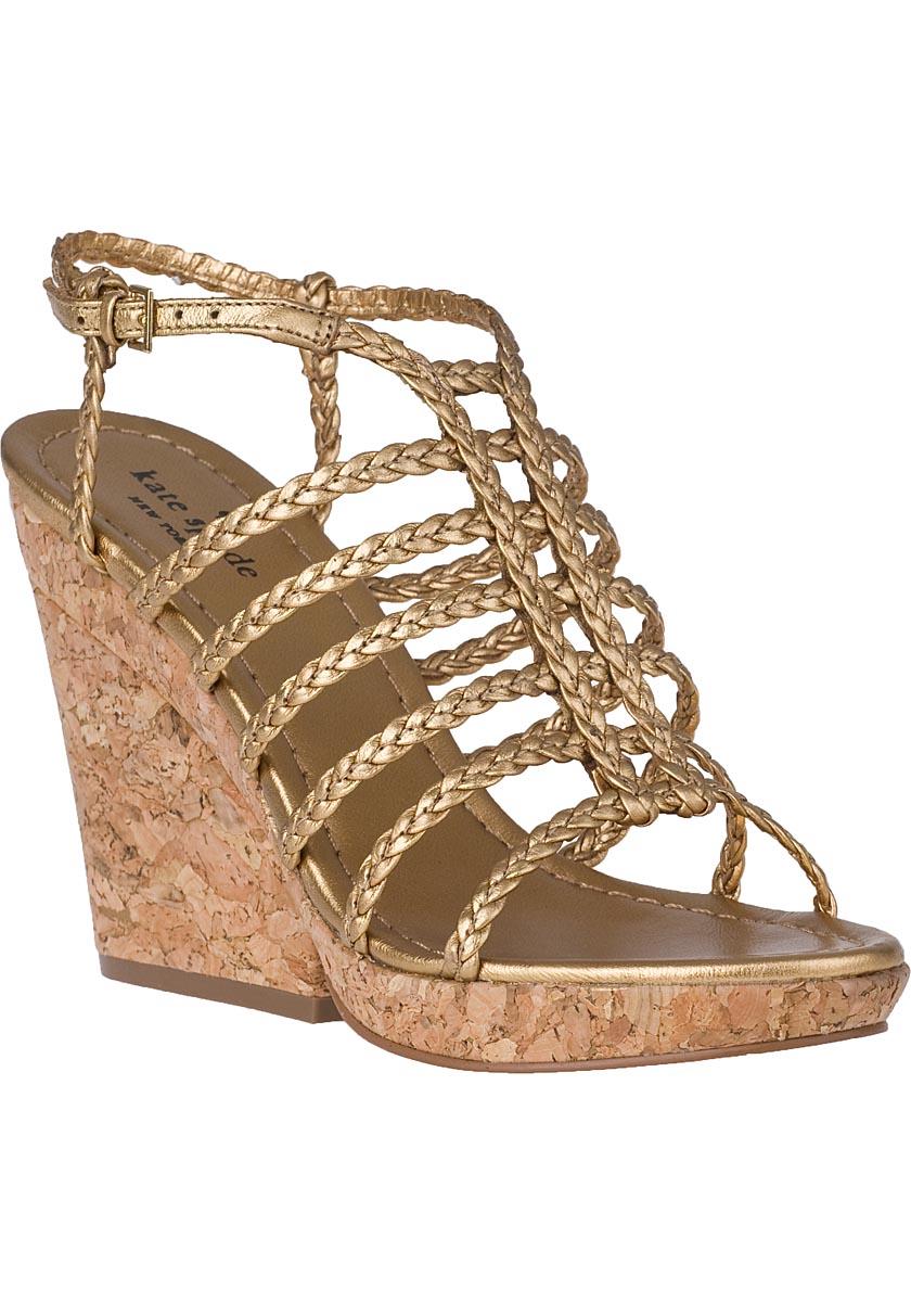 lyst kate spade new york felix wedge sandal gold leather
