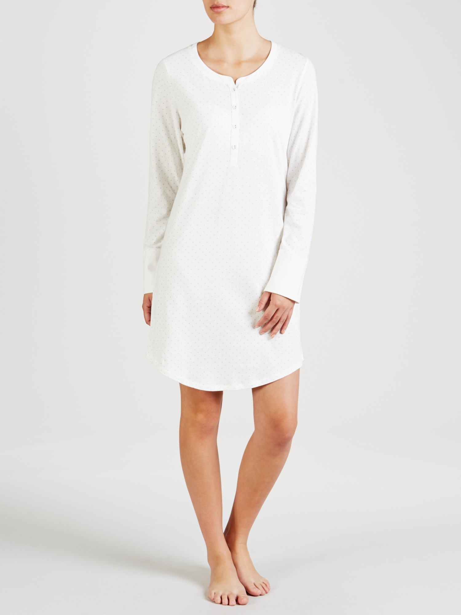 8ea4252134 John Lewis Carrie Spot Nightdress in White - Lyst