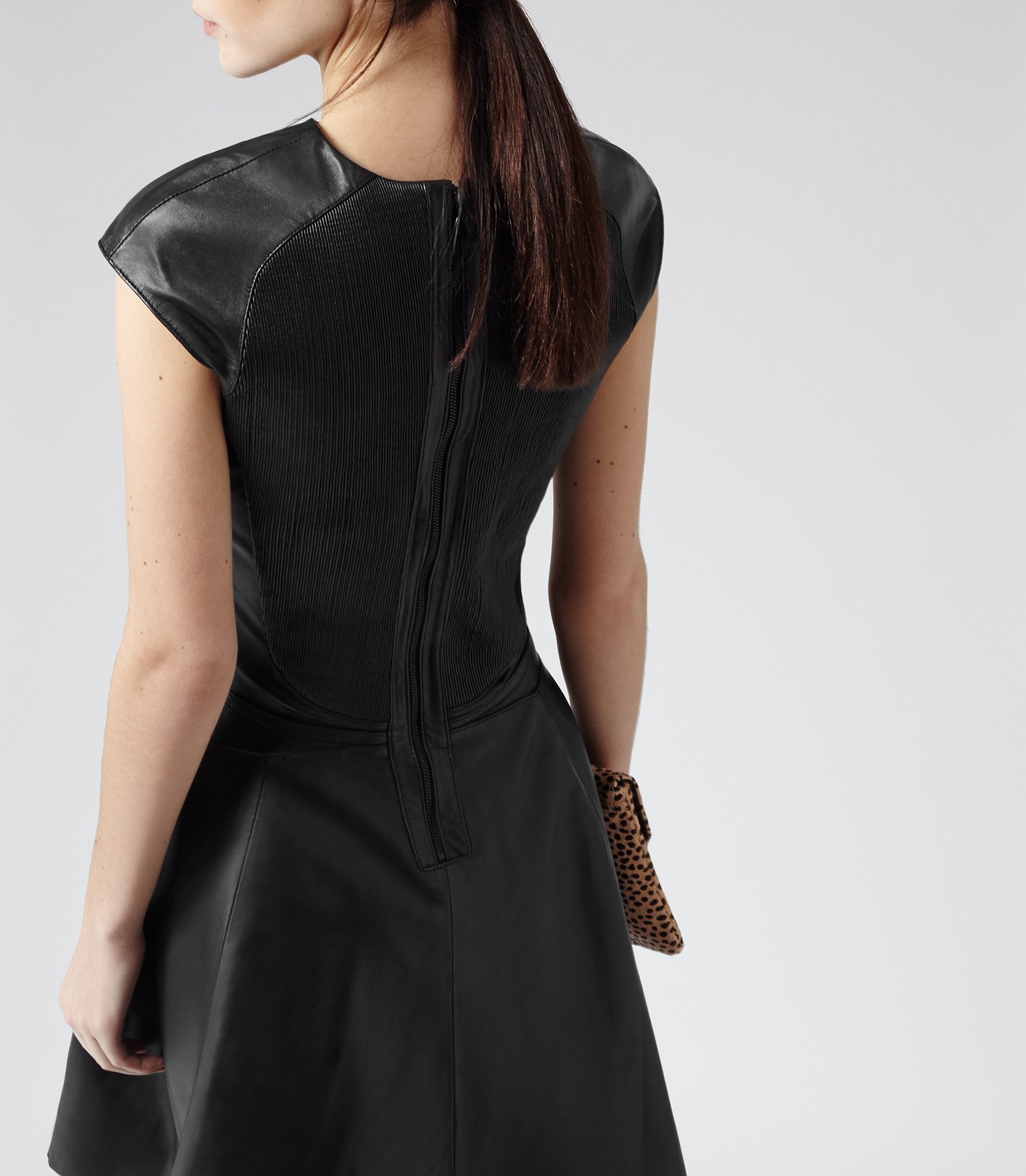 Reiss Scanno Fit And Flare Leather Dress In Black Lyst