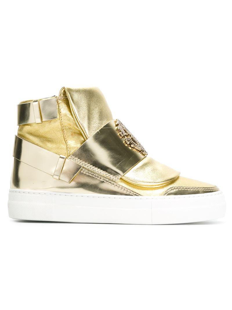 ROBERTO CAVALLI Womens Mike Tiger Print High Top Sneakers