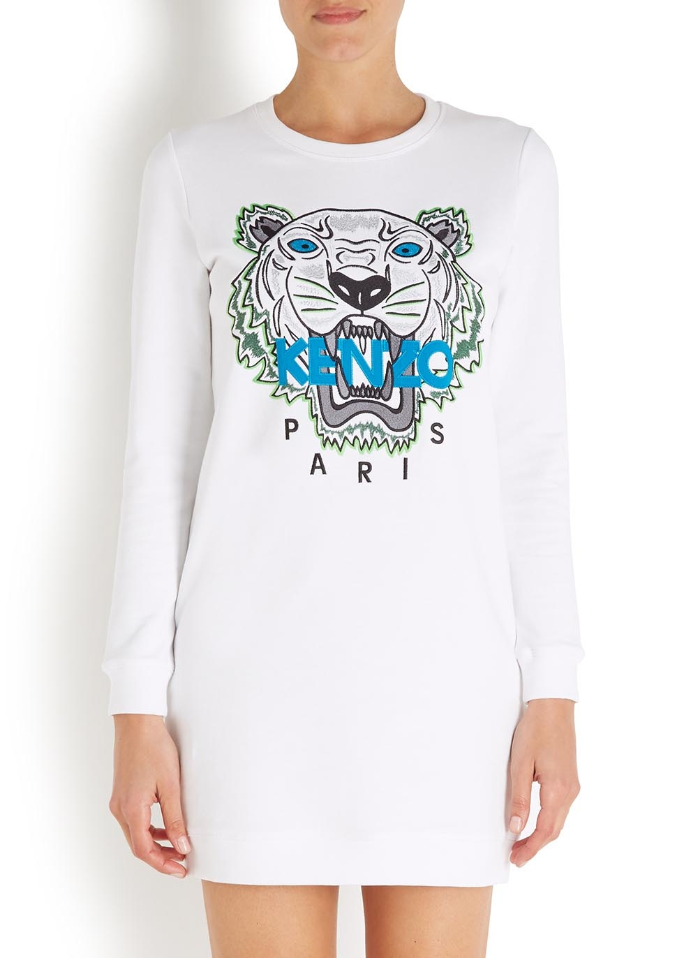Jersey White Dress Jumper Kenzo Embroidered Lyst O0wPn8k