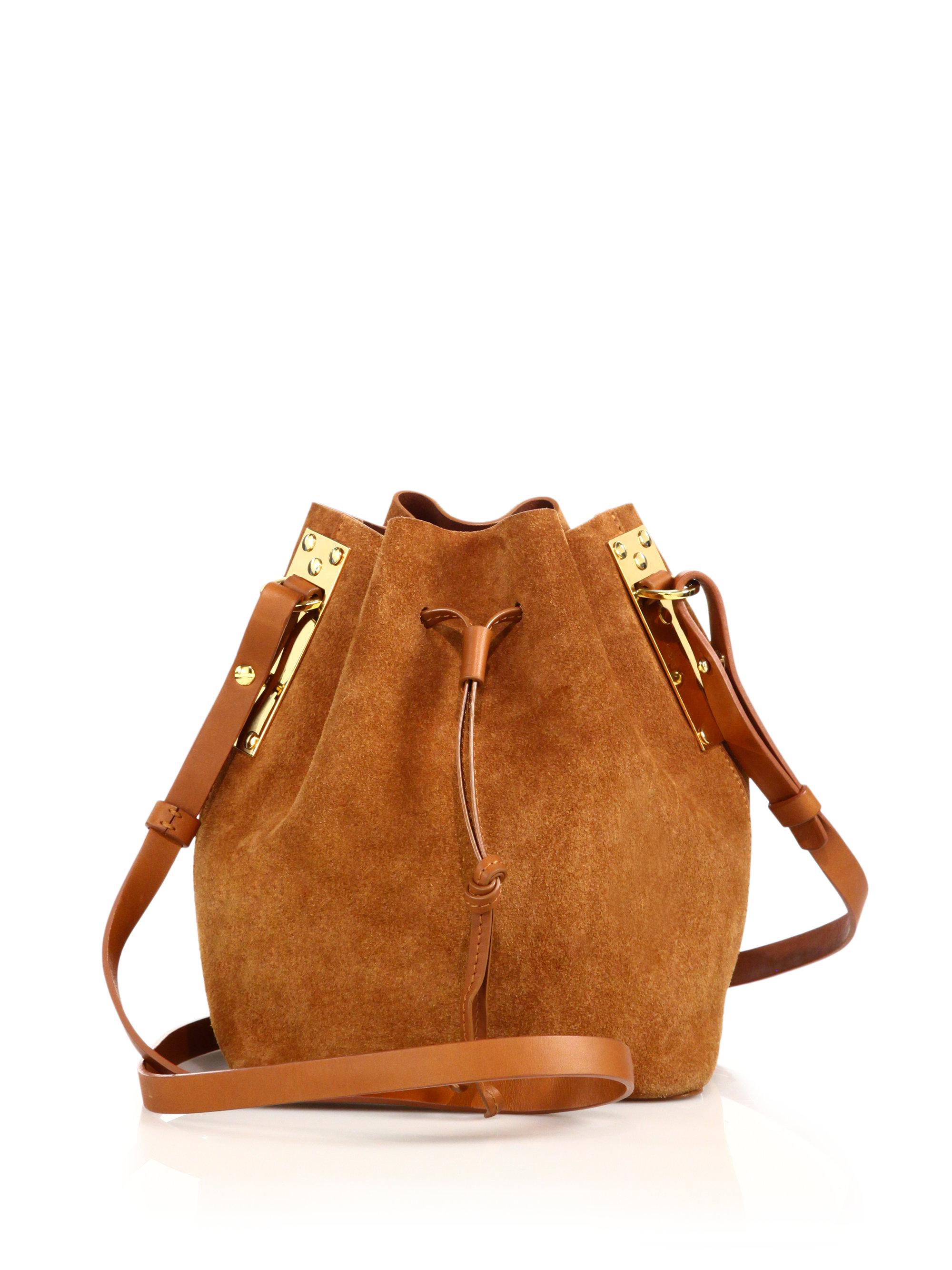 e44b3df929484 Sophie Hulme Suede Bucket Bag in Brown - Lyst