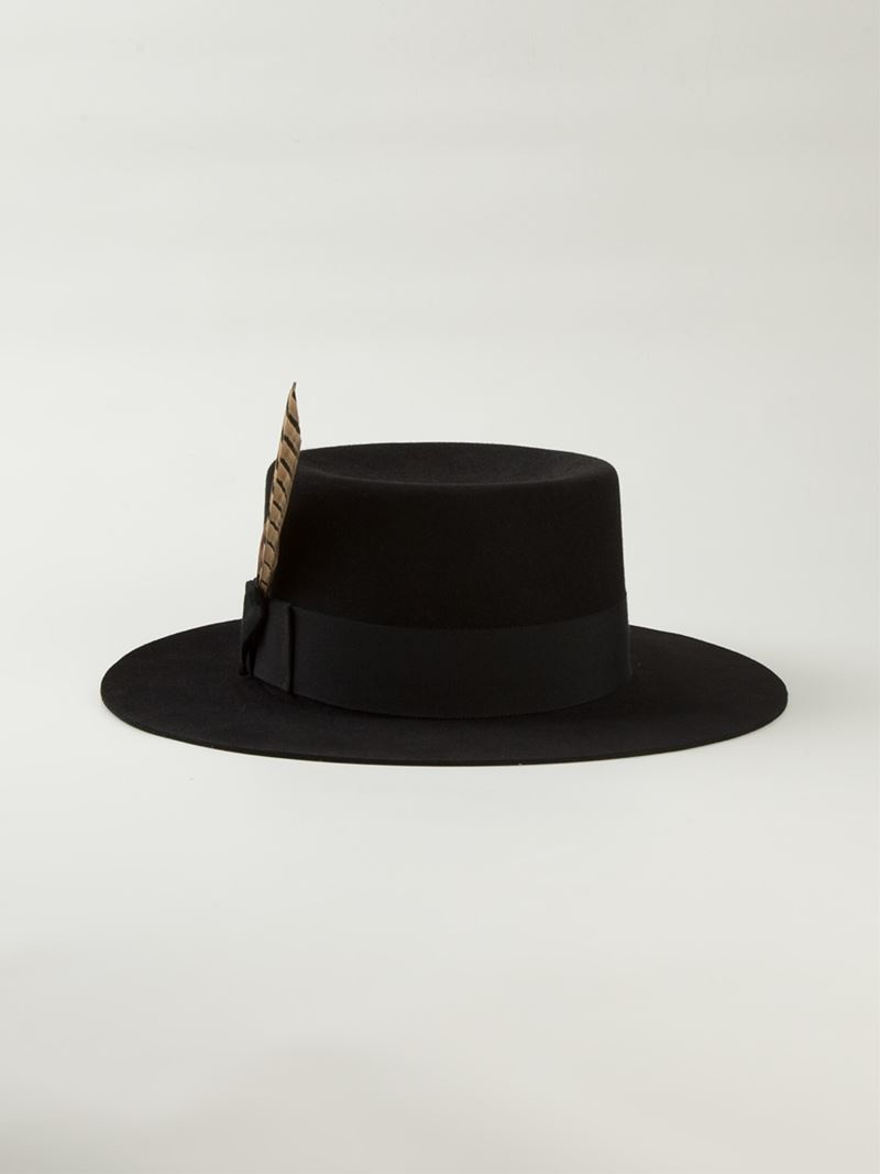 2132c21bf Saint Laurent Black Feathered Fedora for men