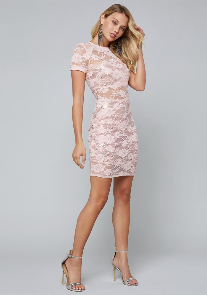 138d6b5213f Bebe Sequin   Lace Tee Dress in Pink - Save 35% - Lyst