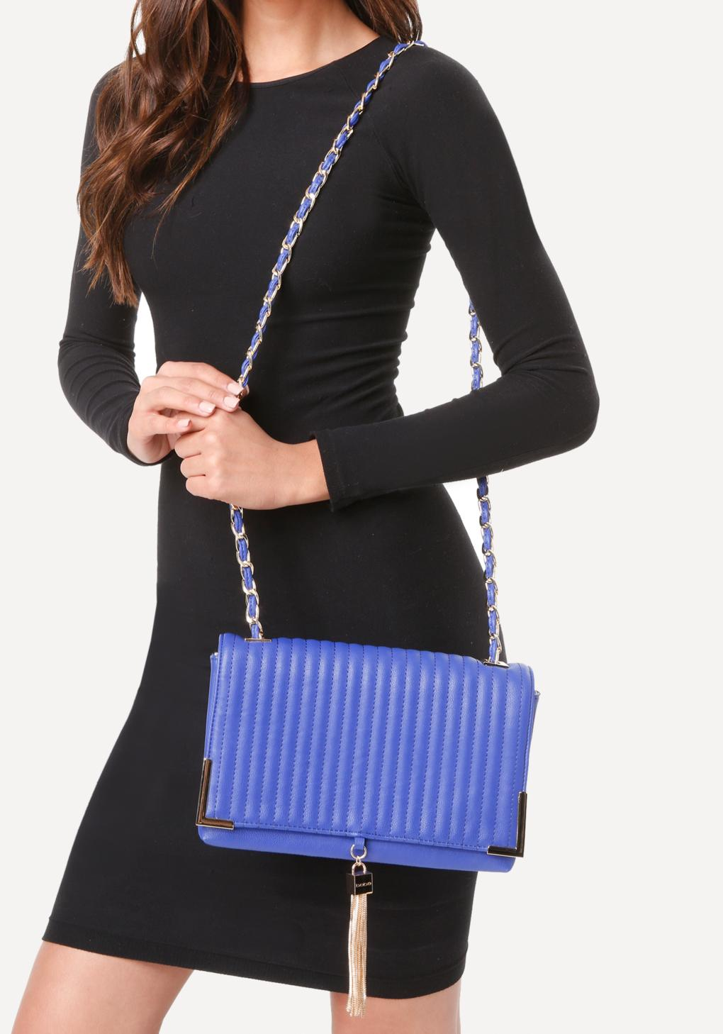 Lyst Bebe Kyla Quilted Crossbody Bag In Blue