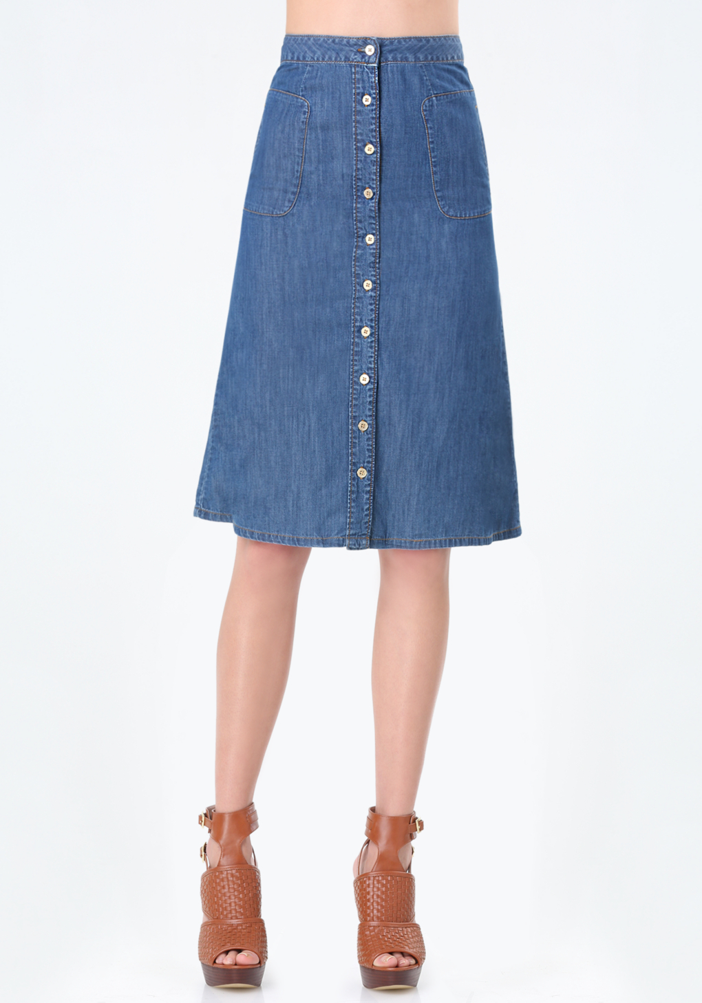 bebe chambray button midi skirt in blue lyst