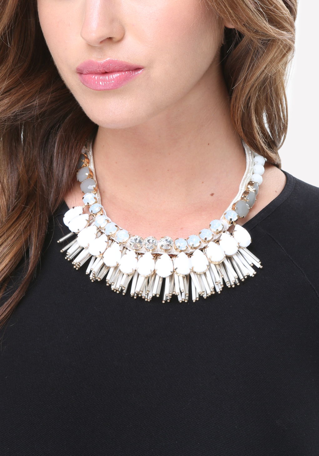 bebe bead necklace in white lyst