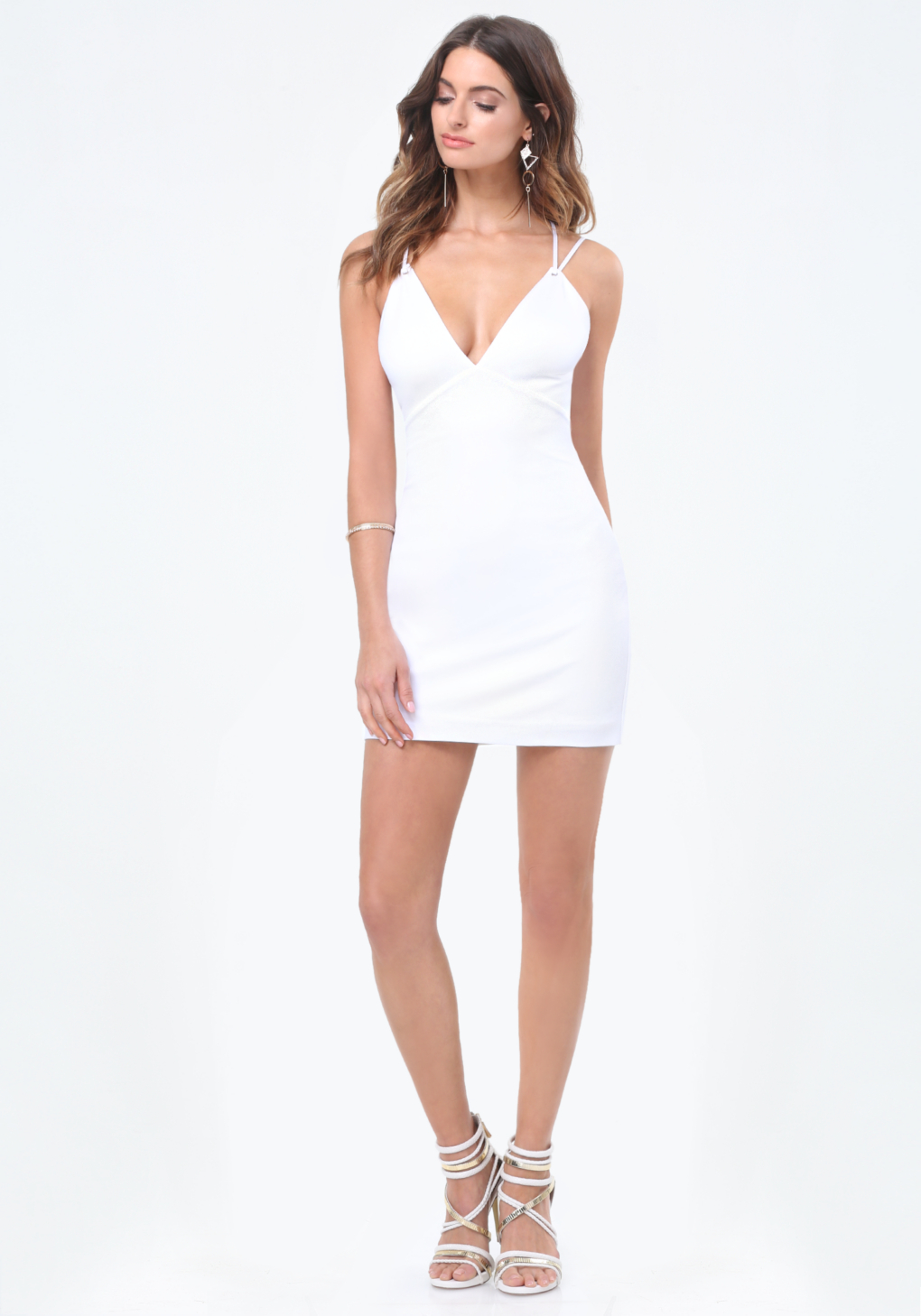 Bebe ponte double strap dress in white lyst for Bebe dresses wedding guest