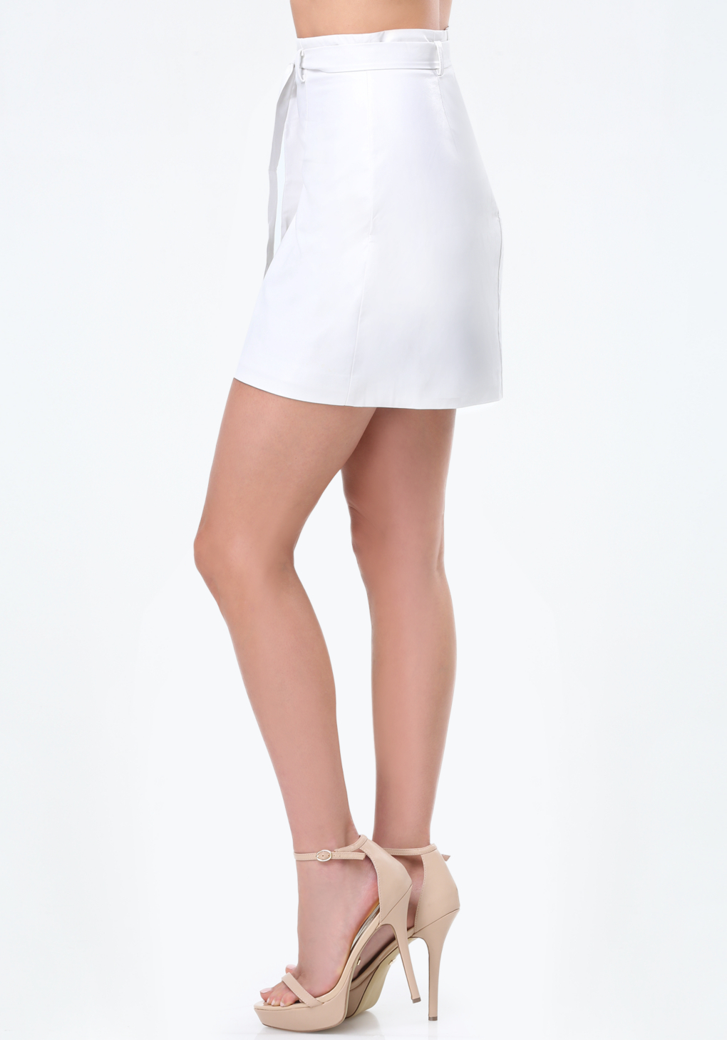 bebe faux leather wrap skirt in white lyst