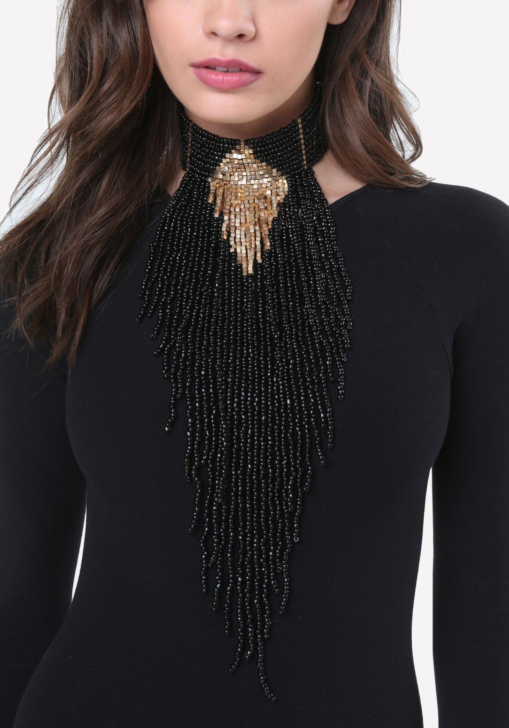 Lyst Bebe Bead Fringe Choker Necklace In Black