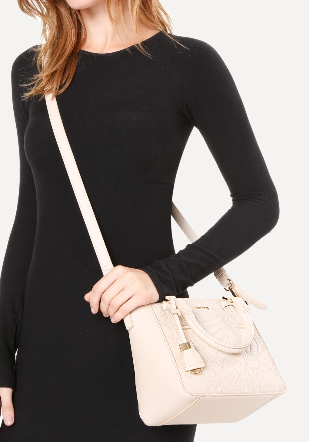 Bebe Tossed Logo Crossbody Bag in Natural
