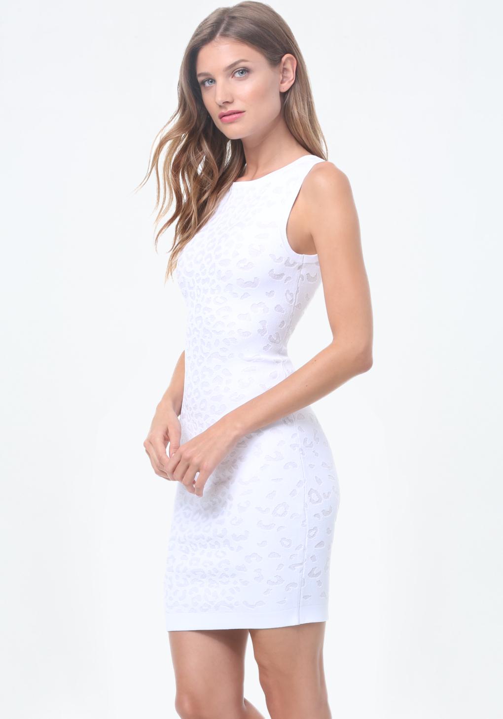 Lyst bebe leopard motif sweater dress in white for Bebe dresses wedding guest