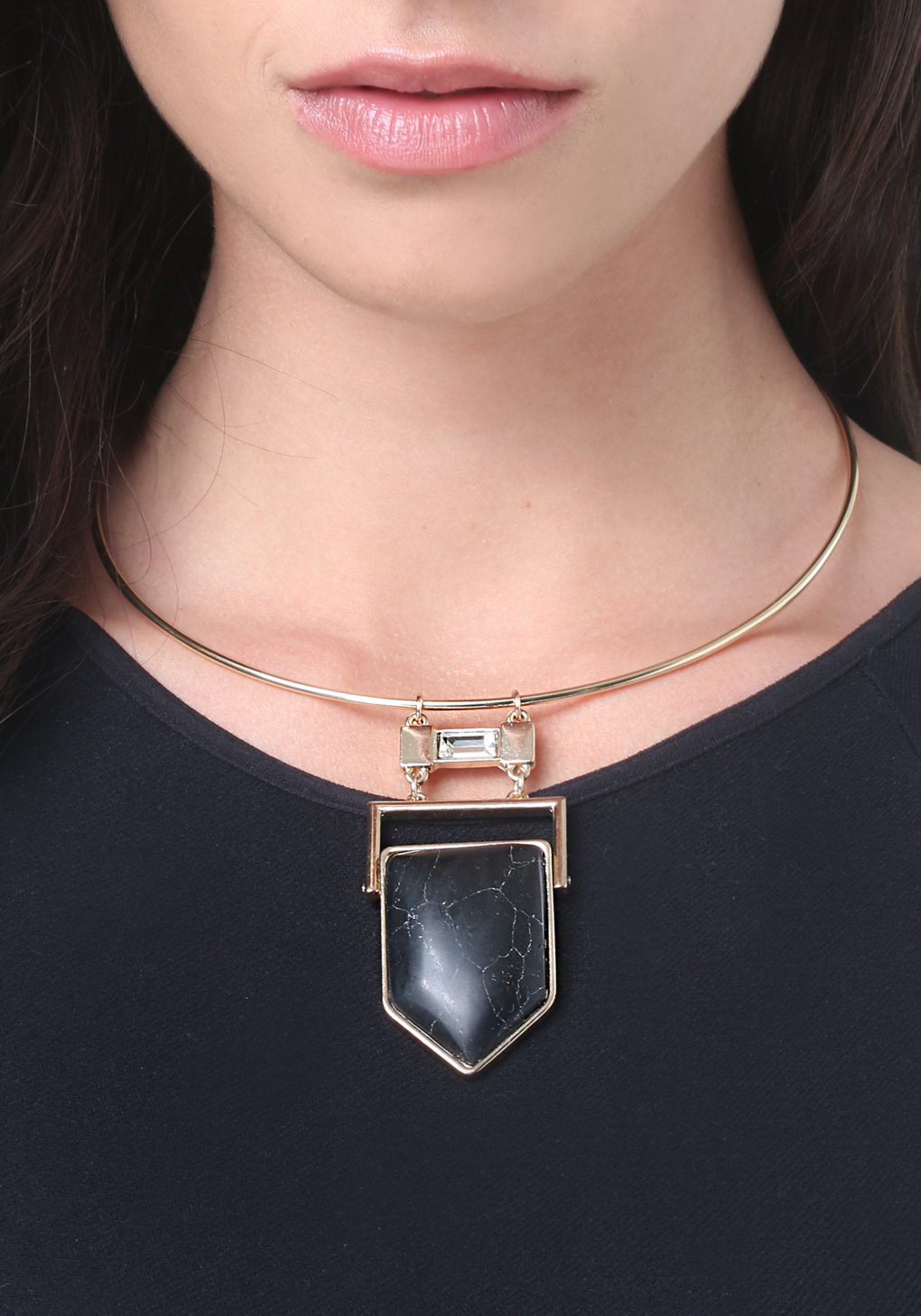 Bebe Black Geo Stone Necklace in Black/Gold (Metallic)