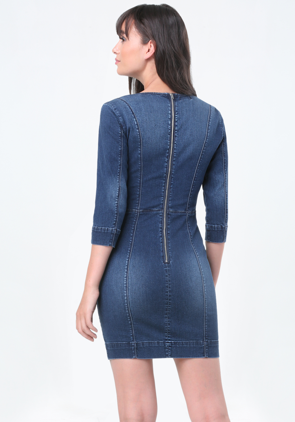 Beautiful Women39s Blue Fitted Denim Dress Vintage Indigo