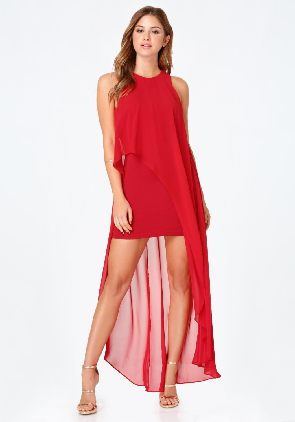 f48b81e9f3064 Bebe Chiffon Hi-lo Overlay Dress in Red - Lyst