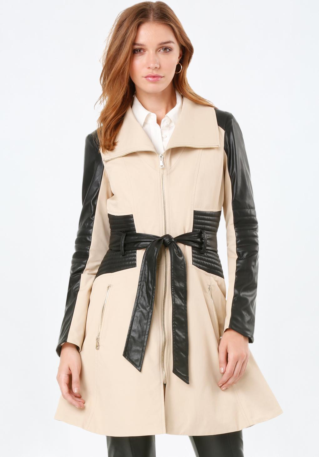 8fde281a4f Lyst - Bebe Faux Leather Trim Moto Coat